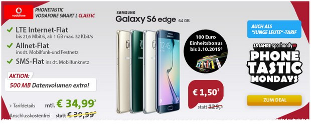 Sparhandy Phonetastic Mondays #15/2 mit Vodafone Smart L + Galaxy S6 / Edge / plus