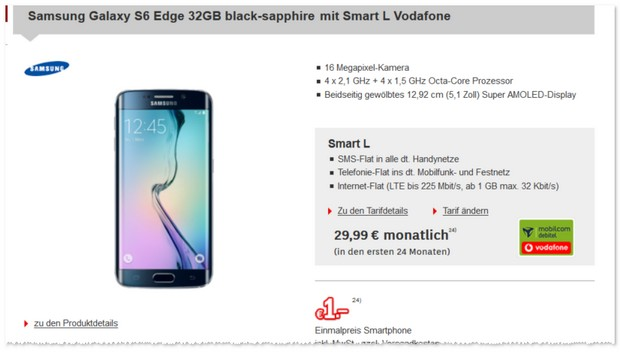 Vodafone Smart L (md) + Samsung Galaxy S6 Edge als Vertrag bei Redcoon