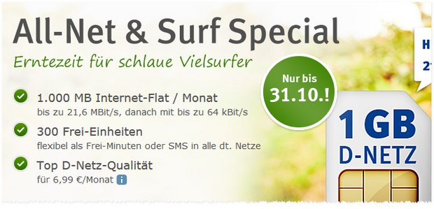 1&1 Tarif WEB.DE All-Net & Surf Special