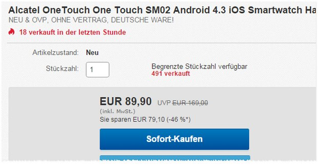 Alcatel Smartwatch für 89,90 €