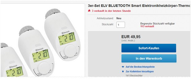 Bluetooth-Heizkörperthermostat ELV eq3