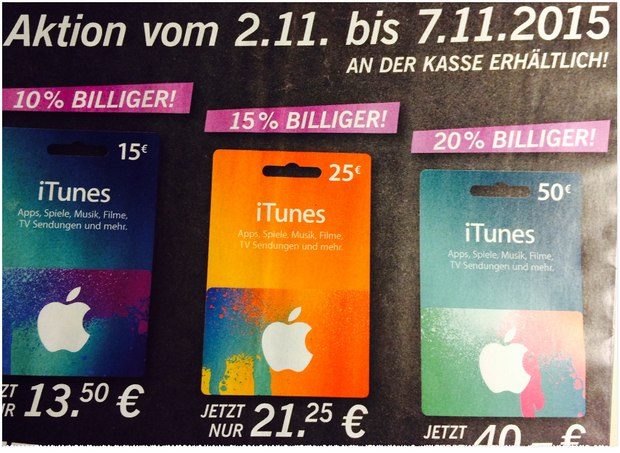 iTunes Rabatt im November 2015