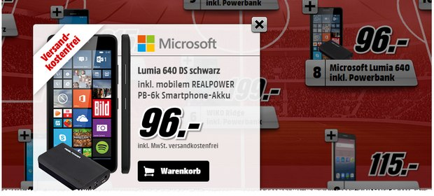 Lumia 640 Dual-SIM als Media-Markt Top 11 Smartphone-Deal für 96 €