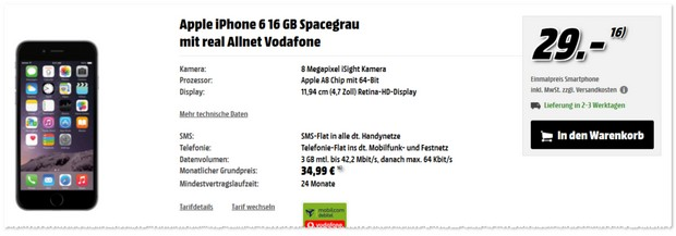 Vodafone Real Allnet von mobilcom-debitel + iPhone 6 mit 3 GB Internet-Flat