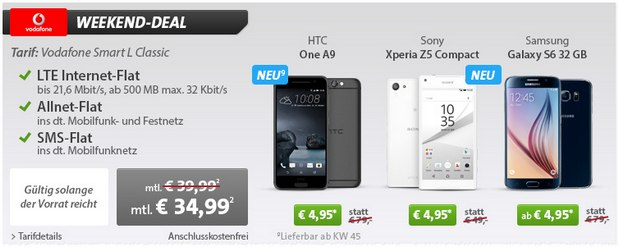 Vodafone Smart L + HTC One A9 für 4,95 € im Sparhandy Weekend Deal