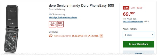 Doro Phone Easy 609 Seniorenhandy als LIDL-Angebot ab 15.12.2016