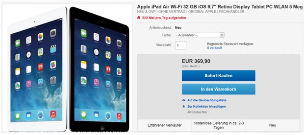 Apple iPad Air 32 GB, WiFi als eBay WOW Angebot
