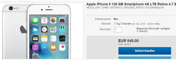 iphone 6 ohne vertrag b ware 16 gb 179 90 wie neu. Black Bedroom Furniture Sets. Home Design Ideas