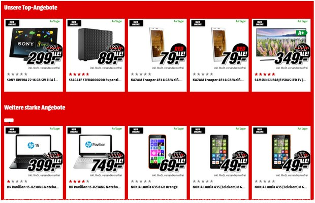 Media Markt Red Sale mit Smartphone-Deals