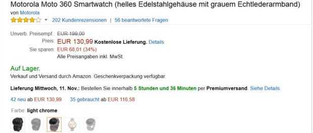 Motorola Moto 360 Smartwatch als Amazon-Angebot