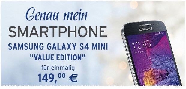 Samsung Galaxy S4 mini Value Edition für 149 € bei Tchibo