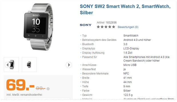 Sony Smartwatch 2 (Silber) für 69 € in der Saturn Black Week