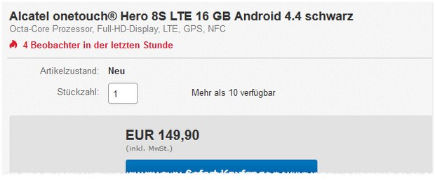 Alcatel One Touch Hero 8S bei Cyberport für 149,90 €