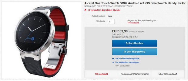Alcatel Smartwatch One Touch Watch SM02 - Rot