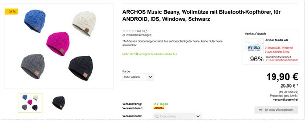 Bluetooth-Mütze: Archos Music Beany