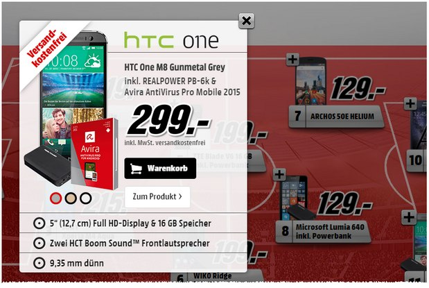 HTC One M8 für 299 € als Media Markt Top 11 Smartphone