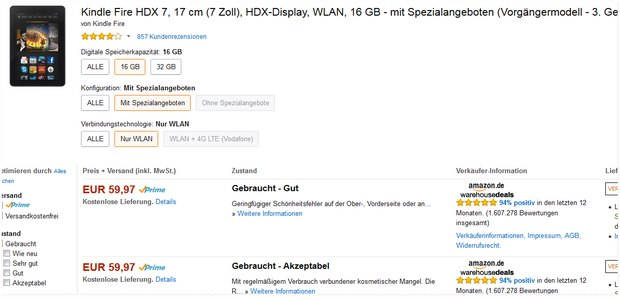 Kindle Fire HDX 7 in den Warehouse Deals unter 60 €