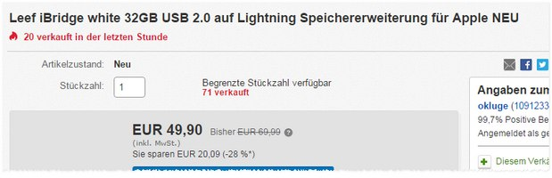 Leef iBridge 32GB mit Lightning-Adapter