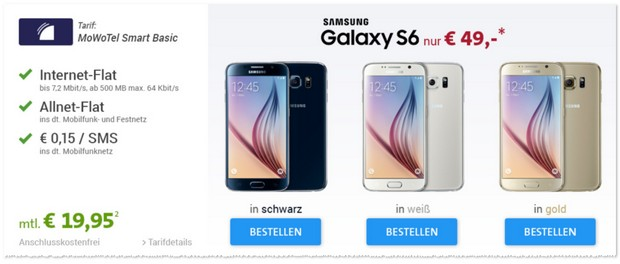 MoWoTel Smart Basic als Samsung Galaxy S6 Vertrag