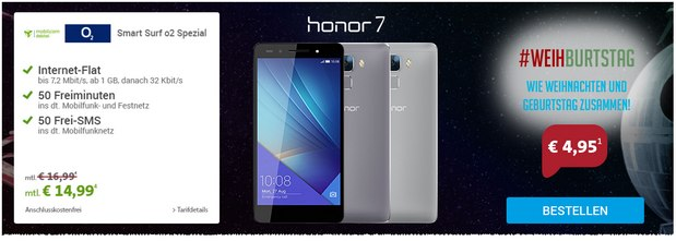 O2 Smart Surf + Honor 7 für 14,99 € pro Monat als Sparhandy Spar Wars Aktion