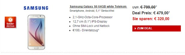 Samsung Galaxy S6 (64GB) im Redcoon Adventskalender für 379 €