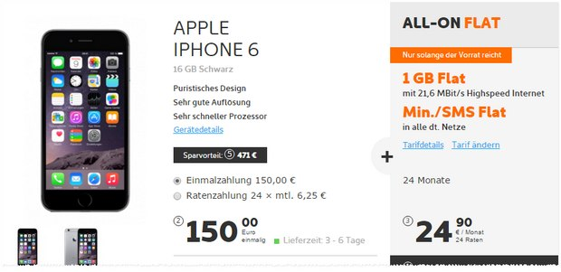 Simyo All-on Flat + iPhone 6 für 24,90 € bei 150 € Zuzahlung