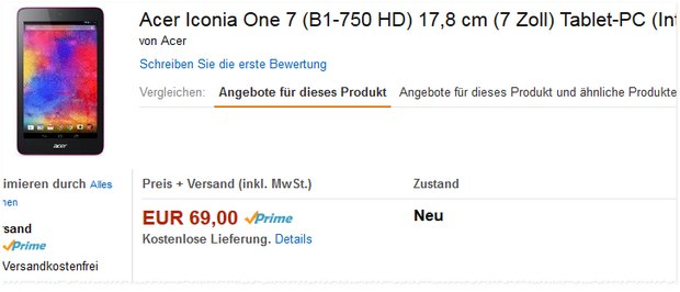 Acer Iconia One 7 B1-750HD in Rosa für 69 € bei Amazon
