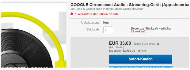 Chromecast Audio 2 für 33 € bei Media Markt
