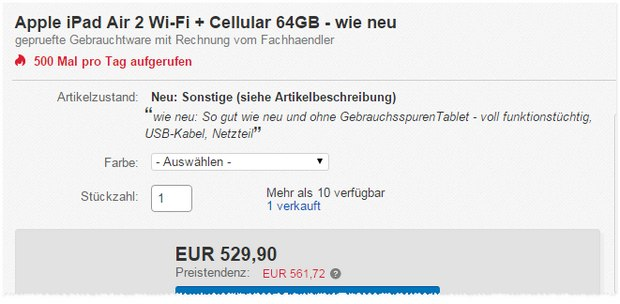 iPad Air 2 WiFi+4G, LTE für 529,90 €