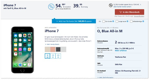 o2 Blue All-in M als iPhone 7 Vertrag