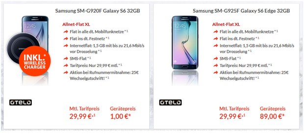 Otelo XL + Samsung Galaxy S6 mit 1,5 GB Internet-Flat
