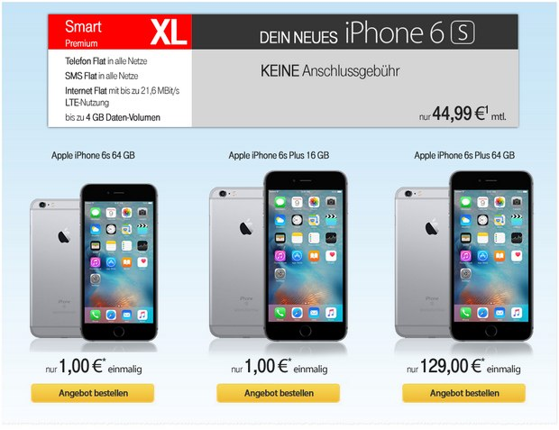 Vodafone Smart XL (2GB) + iPhone 6S als Angebot bei Talkthisway