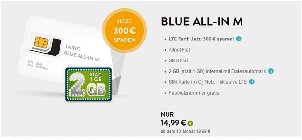BASE Blue All-in M für 14,99 €