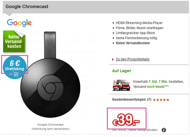 Chromecast 2 Player für 33 Euro