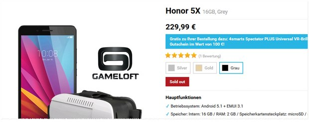 Honor 5X mit 4Smart VR-Brille am 25.2.2016 ab 10:30 Uhr