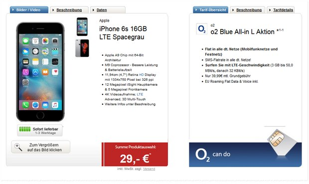 O2 Blue All-in L + iPhone 6S für 39,99 € pro Monat bei 29 € Zuzahlung