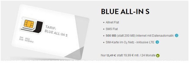 O2 Blue All-in S bei BASE für 12,49 €