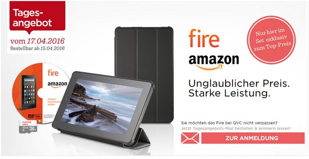 QVC Fire-Tablet-Aktion am 17.4.2016 mit Cover + Speicherkarte