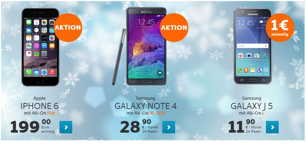 Simyo All-on XL + Samsung Galaxy Note 4 für 28,90 €