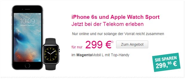 Telekom-Werbung mit iPhone 6S + Apple Watch