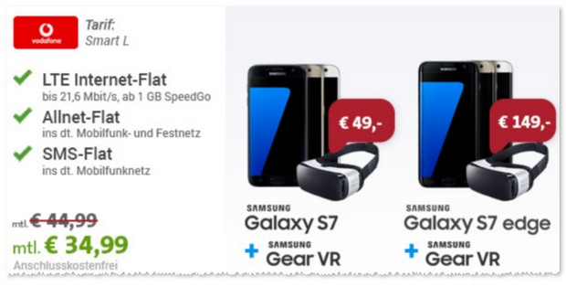 Vodafone Smart L + Samsung Galaxy S7 edge für 34,99 €