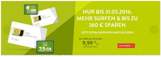 BASE Blue All-in S Tarif mit 1 GB LTE