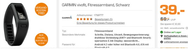 Garmin Vivofit im Saturn Late Night Shopping am 9.3.2016 für 39 €