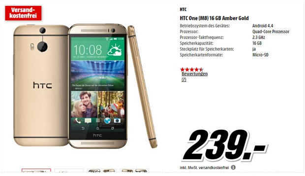 HTC One M8 in Gold für 239 € bei Media Markt