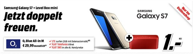 O2 Blue All-in M + Samsung Galaxy S7 für 29,99 € pro Monat + 1 € Zuzahlung im Media Markt Handyshop + Level Box mini gratis