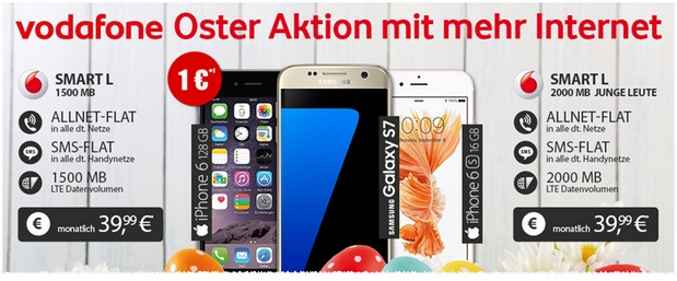 Vodafone Smart L (1,5GB) + Samsung Galaxy S7 für 39,99 €