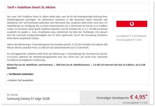Vodafone Smart XL und Samsung Galaxy S7 edge Handyvertrag
