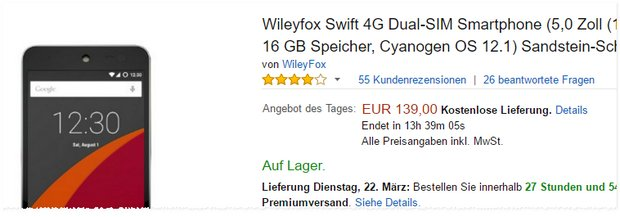 Wileyfox Swift 4G als Amazon Tagesangebot am 20.3.2016 für 139 €