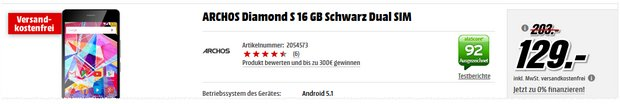 Archos Diamond S als Media Markt Pfingstkracher für 129 €