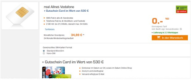 Vodafone Real Allnet Md 600 Saturn Gutschein Card